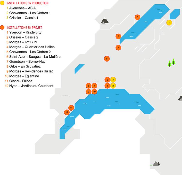 Carte des installations de production